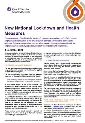 New National Lockdown and Health Measures