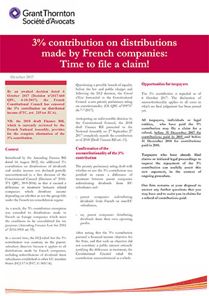 Contribution on distributions made by French companies Time to file a claim