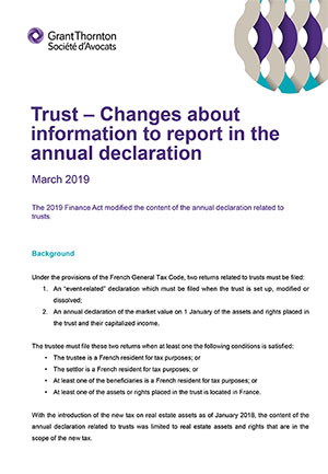 Trust – Changes about information to report in the annual declaration
