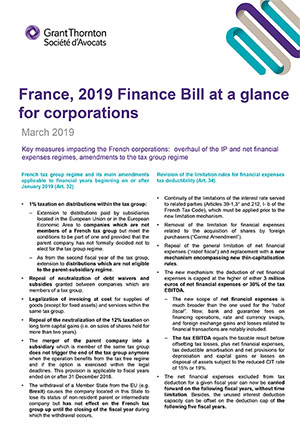 France, 2019 Finance Bill at a glance for corporations