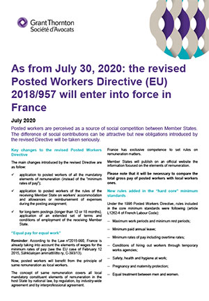 As from July 30, 2020: the revised Posted Workers Directive (EU) 2018/957 will enter into force in France
