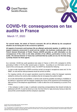 COVID-19: consequences on tax audits in France