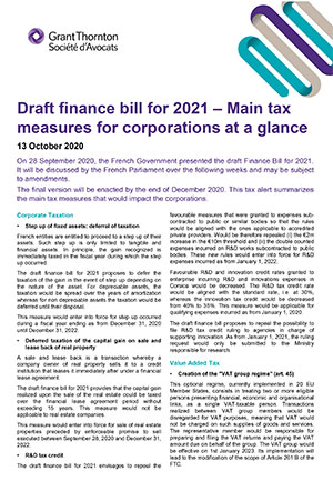 Draft finance bill for 2021 Main tax measures for corporations at a glance