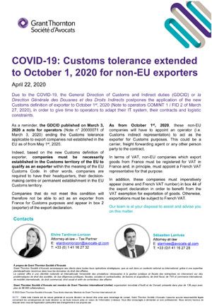 Customs tolerance extended to October 1, 2020 for non-EU exporters
