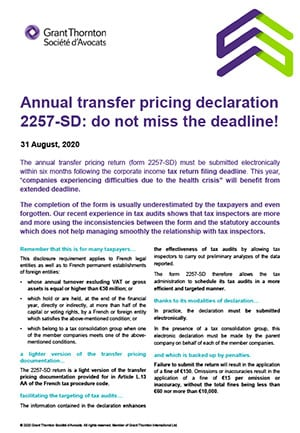 Annual transfer pricing declaration: do not miss the deadline!