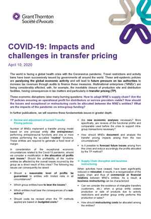 COVID-19: Impacts and challenges in transfer pricing