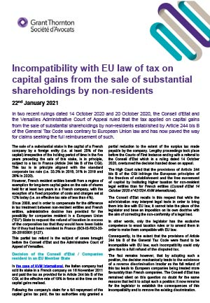 Incompatibility with EU law of tax on capital gains