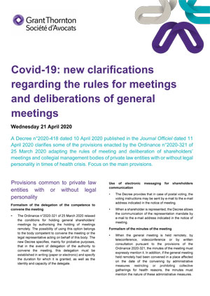 Covid-19: new clarifications regarding the rules for meetings and deliberations of general meetings