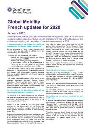 Global Mobility French updates for 2020