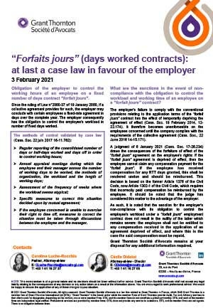 Forfait jours (days worked contract): a case law for the employer