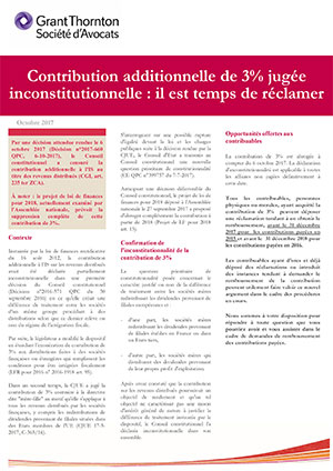 Inconstitutionnalité de la contribution additionnelle de 3